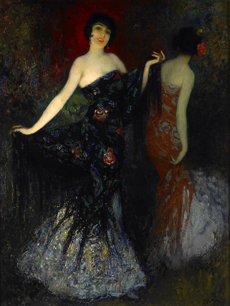 Spanish Color Fantasy - Francis Luis Mora, 1915 --- Could this look anymore like my wedding dress?  Well, it's not white, but that's it.  I love it!