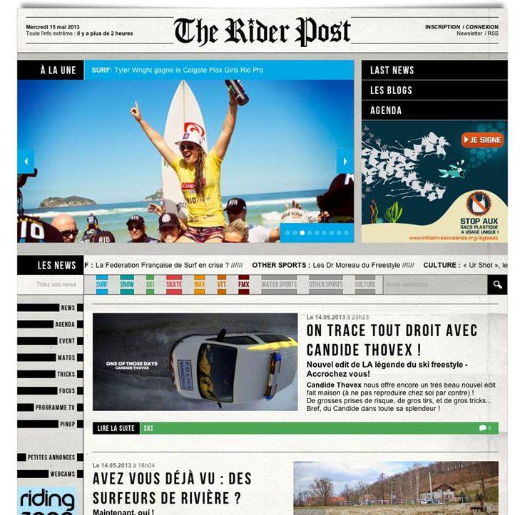 La nouvelle plateforme de news de l'action sport vient de dropper (Design & Dev by 76)  http://www.theriderpost.com