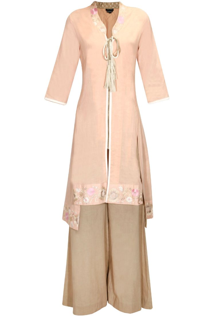 Blush embroidered high low kurta with toosh palazzo pants available only at Pernia's Pop Up Shop.