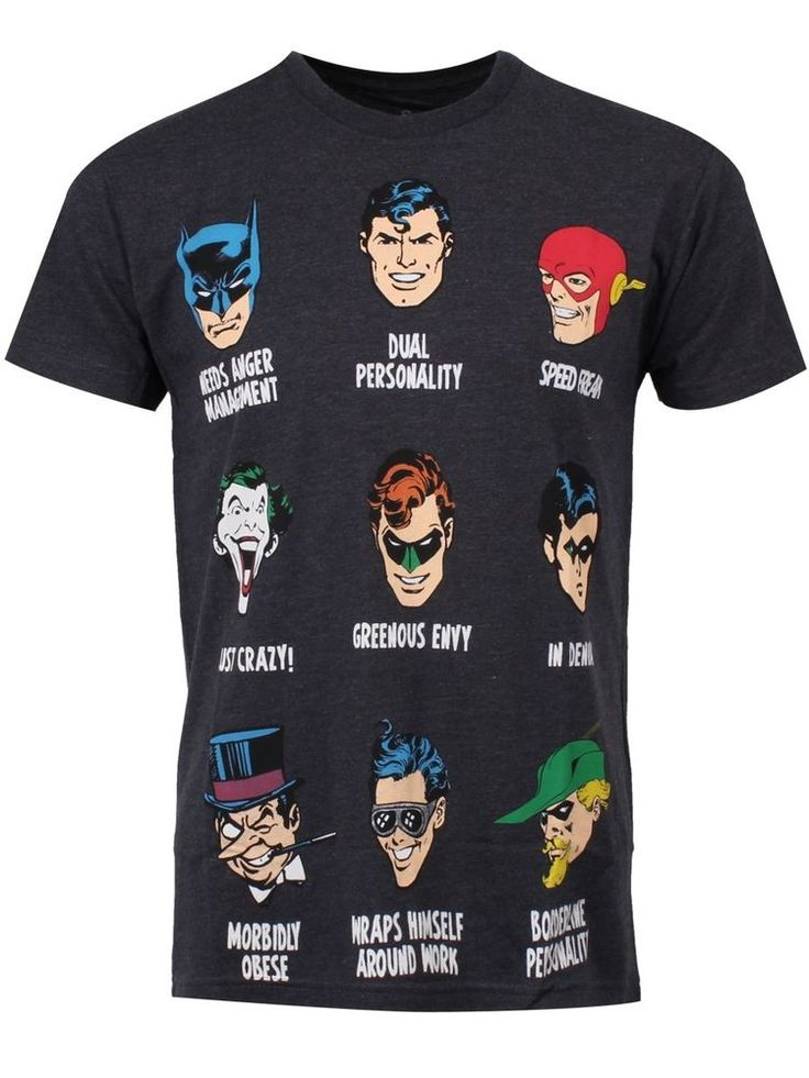 DC Comics Heroes And Villians Personalities Men's Grey T-Shirt - NEW & OFFICIAL in Clothes, Shoes & Accessories, Men's Clothing, T-Shirts | eBay!