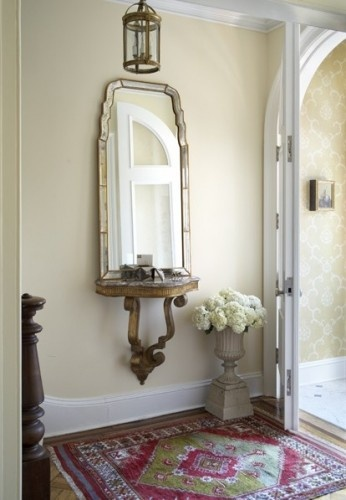 welcoming area for tight foyer: Mirror, Idea, Consoles Tables, Front Doors, Wall Shelves, Front Entry, Small Spaces, Homes, Small Entry