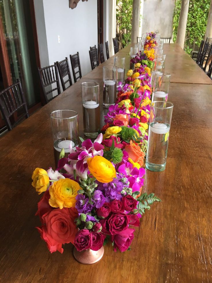 CBC382 wedding Riviera Maya colorfull garland/ runner with candles / corredor de flor coloridas con velas