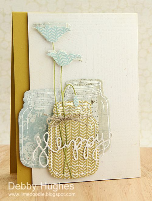 limedoodle, Stampin' Up, Hero Arts, card, mason jars, jar - great  idea to use white ink with the mason jar