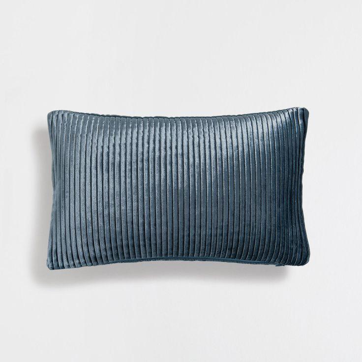 Donkere turquoise velours kussenhoes met plooien - Kussens - Decoratie   Zara Home Holland