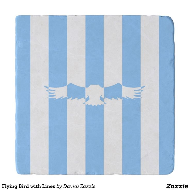 Flying Bird with Lines Heat Trivet Stone  Available on more products! Use the design name to search my Zazzle Products Page.  #eagle #bird #flight #flying #fly #feather #wings #blue #sky #take #white #animal #nature #planet #earth #illustration #silhouette #chic #contemporary #buy #sale #zazzle #home #decor #cooking #trivet #stone