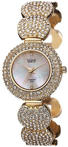 Burgi Swiss Quartz Diamond Mother Of Pearl Gold-Tone Women's Watch
