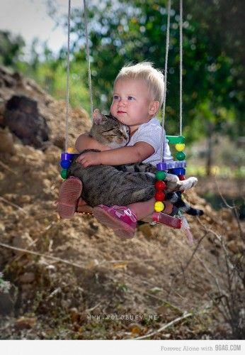 so precious ♥: Best Friends, So Cute, So Sweets, Funny Cat, Swings, Kids, Kitty, Animal, Baby Cat
