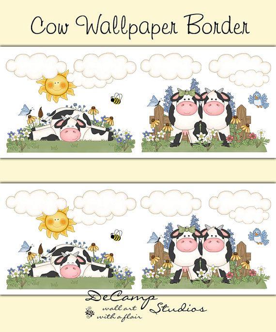 Attractive COW WALLPAPER BORDER Decals Wall Art Girl Farm Animal Nursery Stickers Room  Decor   Kids Barnyard Bedroom   Kitchen Dairy Cow Decorations