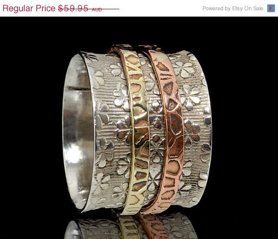 ON SALE 925 Sterling Silver Brass & Copper Embossed by fabriika, $47.96