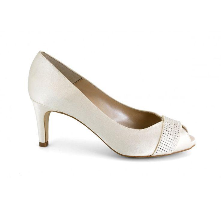 Elegante tacón Strass raso Peep Toe zapatos DHDWKK