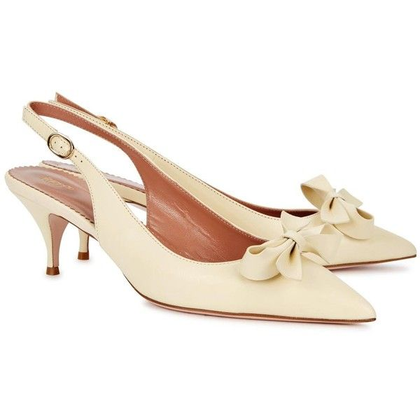 Womens Kitten-Heel Pumps RED Valentino Cream Bow-embellished Leather... (£305) ❤ liked on Polyvore featuring shoes, pumps, pointy toe slingbacks, slingback shoes, leather pumps, leather shoes and cream pumps