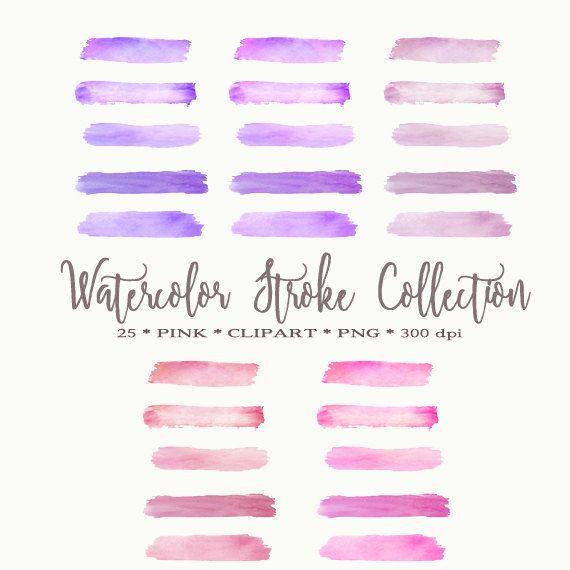 Watercolor Brush Strokes Pink Watercolor by DigitalDesignPaper