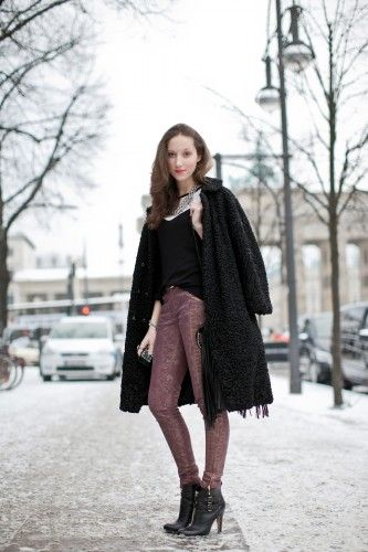 Student Fiona stays warm in a vintage coat and brocade pants. #cold #weather