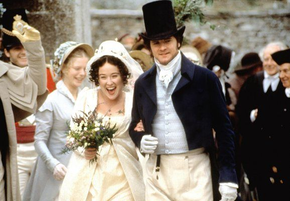 Lizzie and Darcy marry. Pride and Prejudice, 1995
