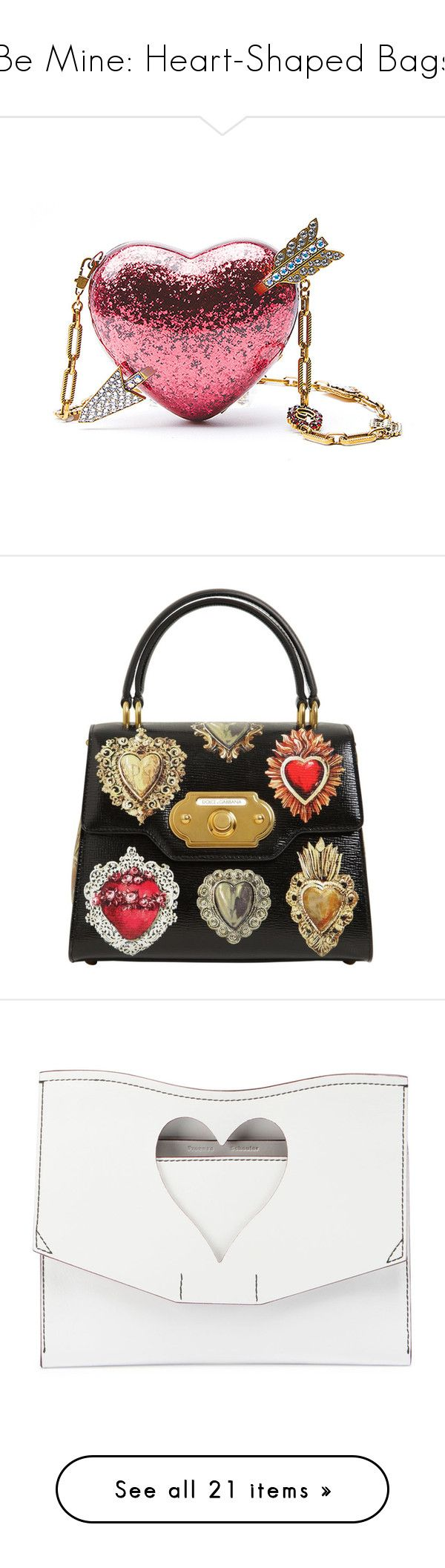 """""""Be Mine: Heart-Shaped Bags"""" by polyvore-editorial ❤ liked on Polyvore featuring heartshapedbags, bags, handbags, clutches, borse, hearts, multi, handbags clutches, white clutches and embellished handbags"""