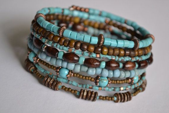 Turquoise+and+Brown+Memory+Wire+Bracelet+Boho+Wrap+by+IvysPebbles More