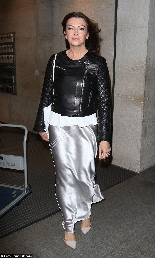 Biker chick style: The Gadget Show's Suzi Perry was seen making her way out of the London ...