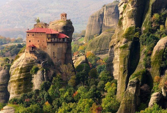 горы, деревья, долина, монастырь метеора, греция