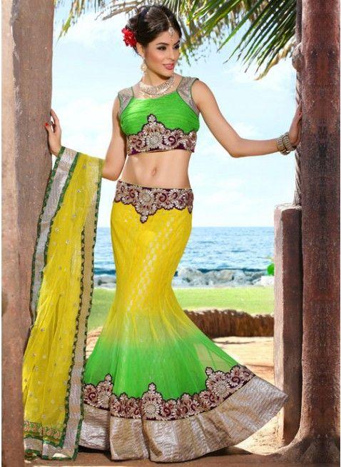 Butta Lime Green & Yellow Color Net Based #Lehenga #Choli