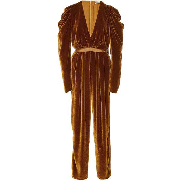 Ulla Johnson Sabine Velvet Jumpsuit ($620) ❤ liked on Polyvore featuring jumpsuits, gold, jump suit, plunging-neckline jumpsuits, polka dot jumpsuits, sleeve jumpsuit and brown jumpsuit
