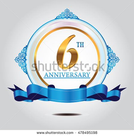 6th anniversary golden logo with soft blue ring ornament and blue ribbon