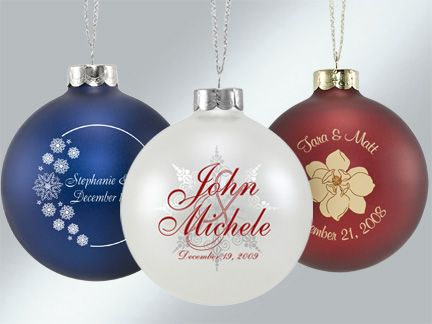 christmas ornaments wedding favors | Custom Personalized Glass Wedding Christmas Bulbs