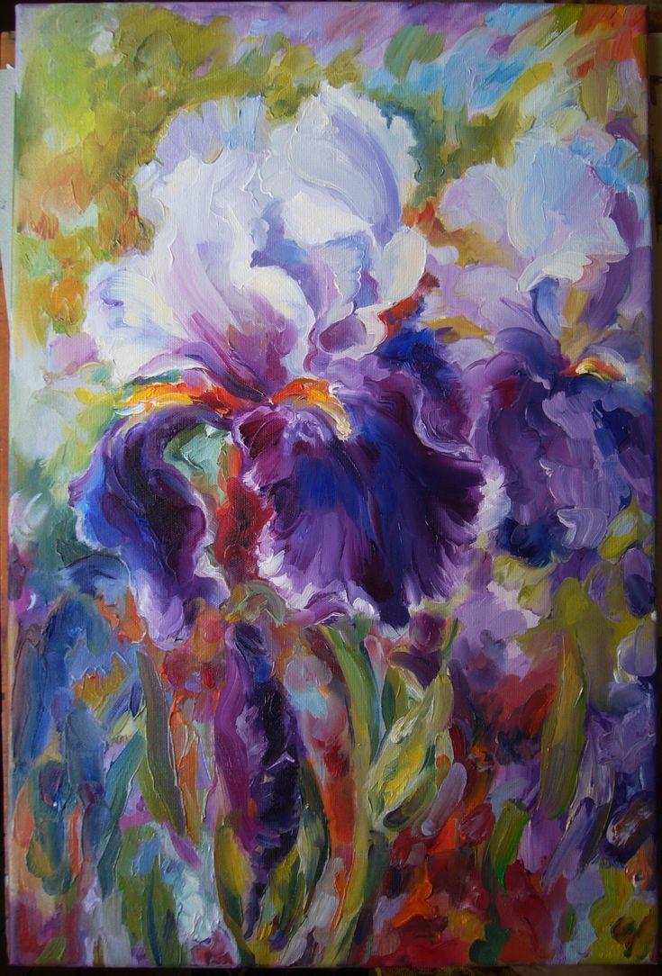 Iris flowers- oil on canvas, 60/45 cm, 2016, Derecichei Simona Mihaela