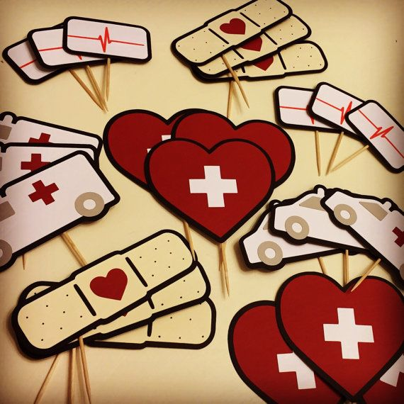 Nurse Cupcake Toppers (set of 24) Medical Theme with Ambulance, Bandage, Heart, and Heartbeat Monitor