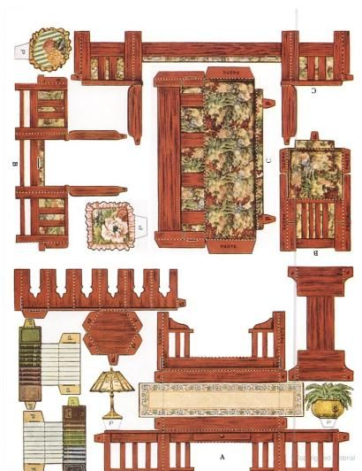 cut assemble paper dollhouse furniture by american