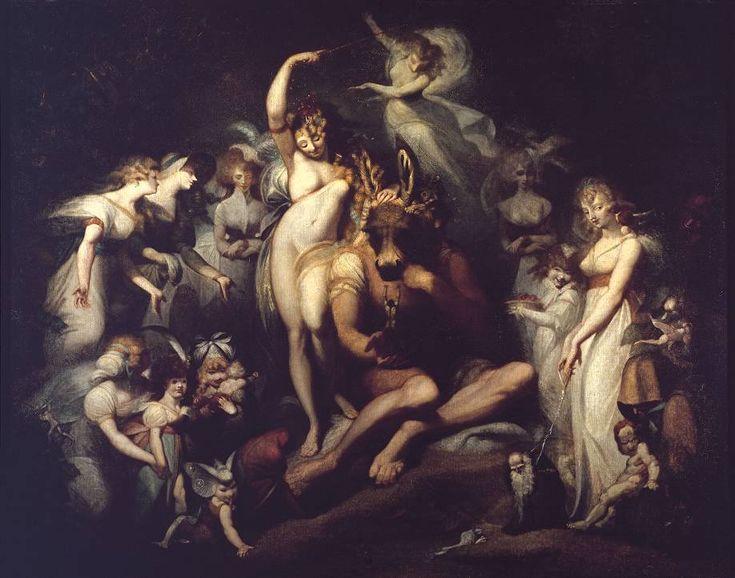 Autore: Johann Heinrich Fussli Nome dell'opera: Sogno di una Notte di mezza estate Data: 1790 Tecnica: olio su tela Collocazione: Londra, Tate Britain