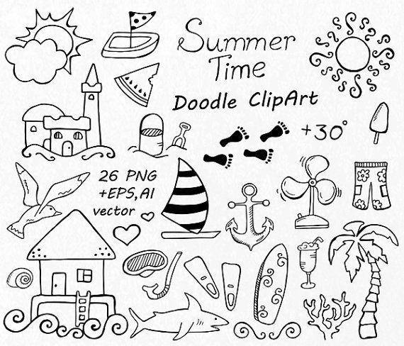 GRAND jeu de Doodle Summer cliparts main dessinée vacances