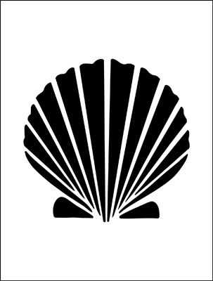 Shell stencil from The Stencil Library BUDGET STENCILS range. Buy stencils online. Stencil code MS63.
