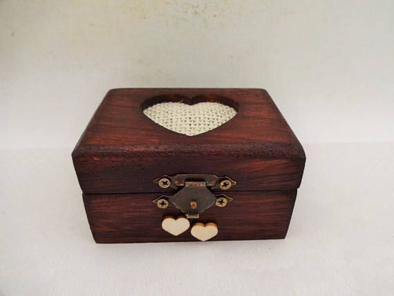Wooden Engagement Ring Box Small Proposal Ring Box Rustic