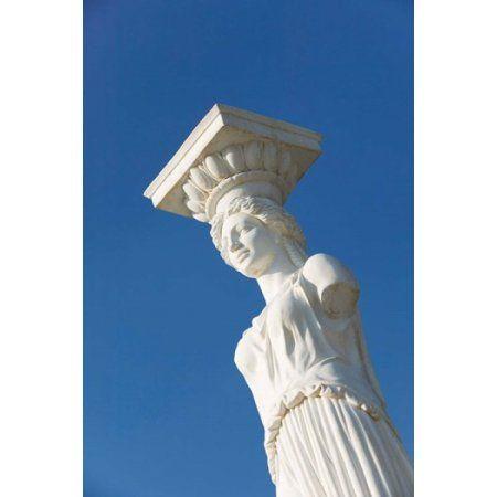 Greece Ionian Islands Kefalonia Caryatid Statue Canvas Art - Walter Bibikow DanitaDelimont (19 x 28)