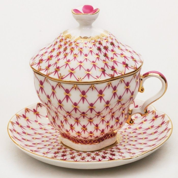 Russian Imperial Lomonosov Porcelain Lidded Tea cup, saucer Net Blues Russia  #Lomonosov #CupsSaucers