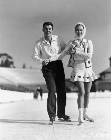 Ronald Reagan and Jane Wyman Go Ice Skating In 1945