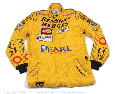 """Lot 2161  Jordan Formula 1 fireproof Nomex mechanics overalls with """"Benson & Hedges"""" tobacco branding, size 56 - Large. Condition is generally Excellent.  Estimate: £180 - £200"""