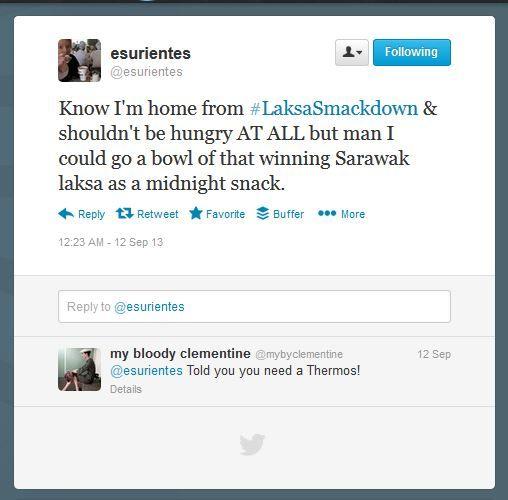 Tweet by @esurientes after #LaksaSmackdown at Orient East, Melbourne, Australia
