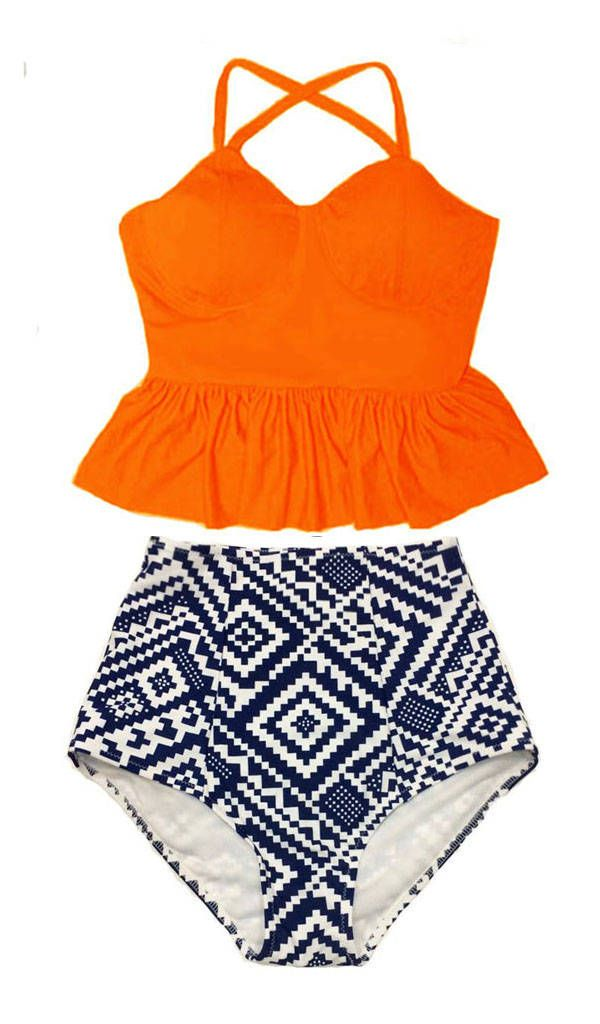 Peplum Tankini Swimsuit Bathing suit Swimwear Bikini set : Orange Long Tankinis Top and Graphic High Waisted Waist Highwaist Bottom S M L XL by venderstore on Etsy