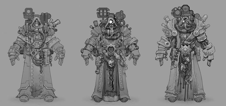 MMO armors for the Tech-priest healing class in the Warhammer 40,000 MMO - DARK MILLENNIUM ONLINE.  http://wh40k.lexicanum.com/wiki/Tech-priest  See some of the finished assets by Shawn Brack here:   https://www.artstation.com/artwork/male-tech-warrior  See some of the finished assets by Jeremy Klein here:   http://www.artstation.com/artwork/40k-tech-priest-level-50  http://www.artstation.com/artwork/40k-tech-priest-level-30  http://www.artstation.com/artwork/40k-tech-priest-level-20  See…