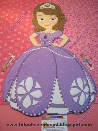 ARTESANATO COM QUIANE - Paps,Moldes,E.V.A,Feltro,Costuras,Fofuchas 3D: Princesinha Sofia