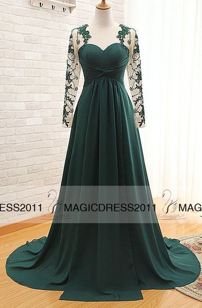 Online Shopping 2015 Dark Green Prom Evening Dresses with Long Sleeve A-Line Crew Appliques Pleated Plus size Long Formal Pageant Gowns Party Dress 110.91 | m.dhgate.com