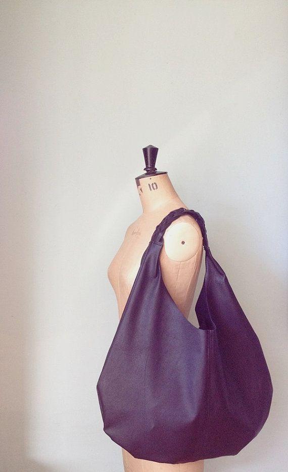 Black leather slouch bag / large hobo shoulder by GingerandBrown
