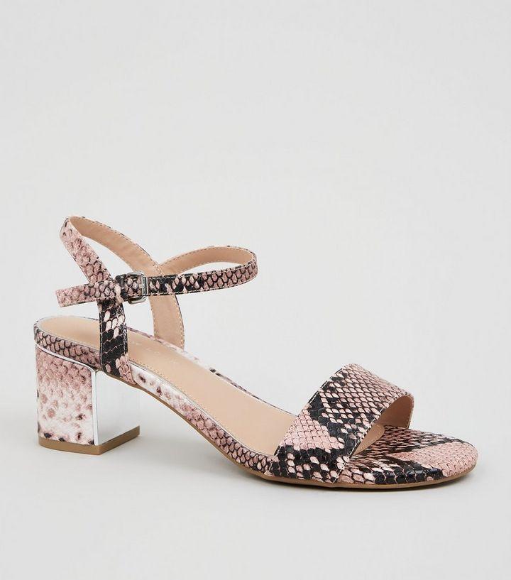 Wide Fit Pink Faux Snake Block Heels
