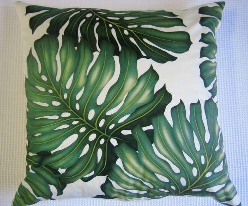 retro monstera leaf 50cm sq cushion