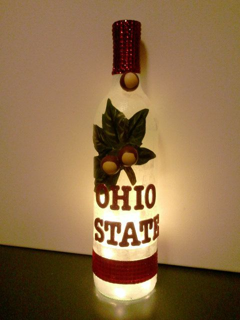 Ohio State Buckeye Wine Bottle with Lights. $36.00, via Etsy.