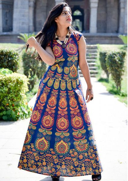 Ethical Dresses – Women Mandala Long Dress Cotton Beachwear Gown – a unique product by IndianCraftPalace on DaWanda