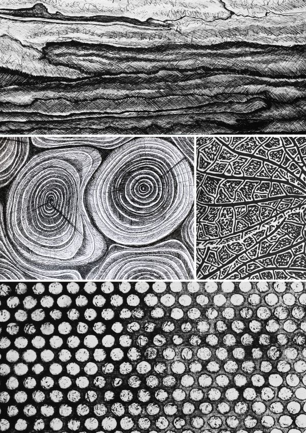 Mark Making used to create textural patterns; monochrome pattern design // Michelle Lusby