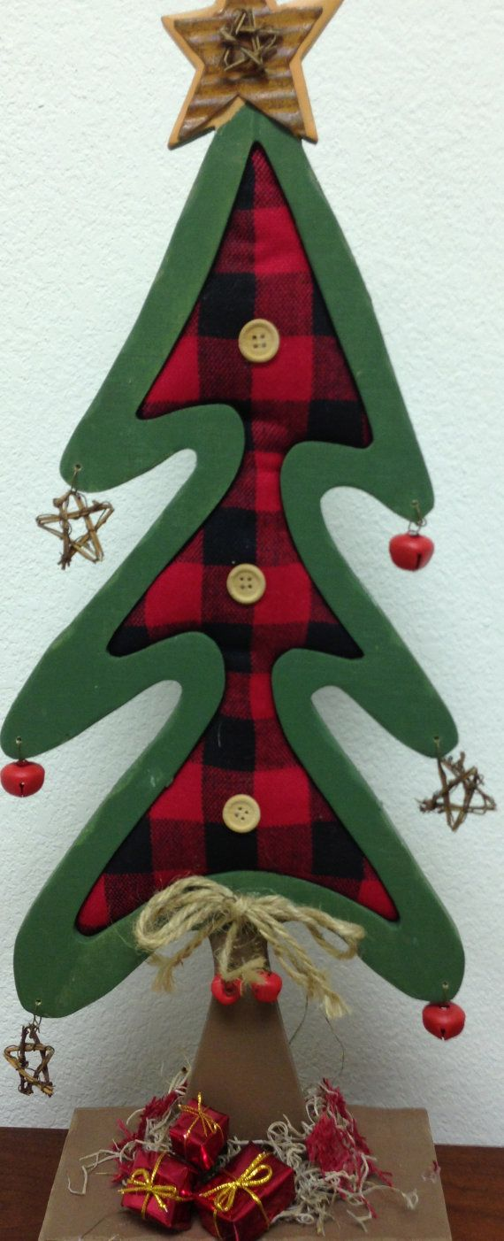 Plaid monograms natural wood ornaments feathers and i couldn t - Christmas Tree Wood Red Plaid Material Bells By Adellesavenue 25 00