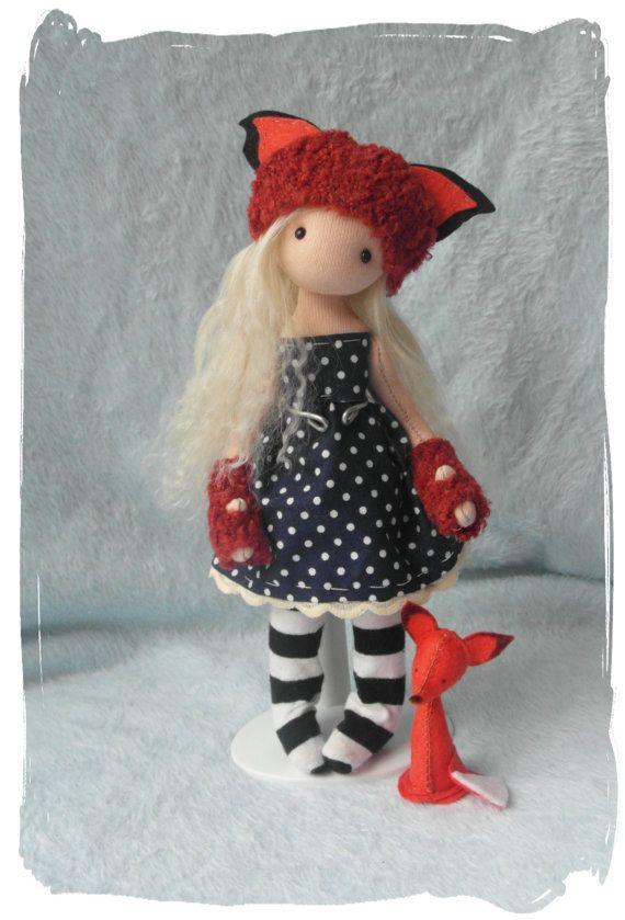 Foxy Loxy, hand sewn art doll.